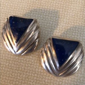 Art Deco Sterling Lapis Lazuli Clip-On Earrings
